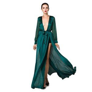 Long Sleeve Plunge Maxi Dress with Slit, NEW